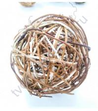 Шар плетеный большой, виноградная лоза, 9.2 см, коричневый с белыми вставками