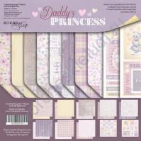 Набор двусторонней бумаги Daddy's Princess, 20х20 см, 190 гр/м, 8 двусторонних листов+2 односторонних листа с карточками