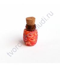 Стеклянная бутылочка с пробкой, 19х13 мм, цвет красный