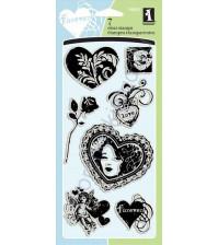 Набор штампов Love and Hearts, 7 элементов, размер набора 10х18 см