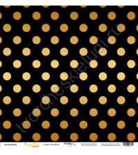 Бумага для скрапбукинга односторонняя с золотым тиснением 30.5х30.5 см, 190 гр/м, коллекция Every Day Gold, лист Golden Dots Black