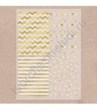 Калька декоративная с фольгированием Звездная волна, лист А4, плотность 180 гр/м2, цвет золото