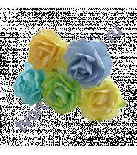 Кудрявые розы 2 см, 5 шт, цвет весенний микс