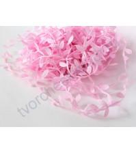 Лента розовая с листочками, ширина ок. 23 мм