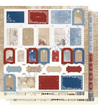 Лист бумаги для скрапбукинга Теги , коллекция Крафтовая Зима,30 на 30 см, плотность 190 гр
