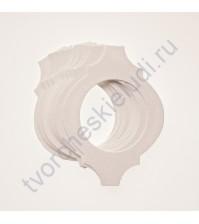 Набор высечек (вырубок) из текстурированного картона Фигурная рамочка, плотность 280 гр/м2, 10 элементов, цвет белый, фактура Яичная скорлупа