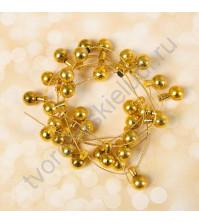 Декоративная гирлянда Шарик, игрушка 8х15 мм, длина 1 метр, цвет золото