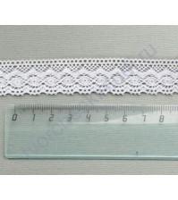 Тесьма вязаная (кружево) хлопок дизайн-32, шир. 26 мм, цвет белый, 1 метр