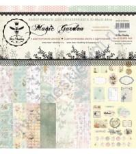 Набор двусторонней бумаги для скрапбукинга Magic Garden, 30.48х30.48 см, 190 гр/м, в наборе 8 двусторонних листов + лист бонус (оборот обложки)