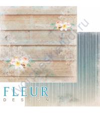 Бумага для скрапбукинга двусторонняя, коллекция Лагуна, 30х30 см плотность 190г/м, лист Райское место