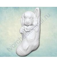 Форма силиконовая (молд) для полимерной глины Щенок в носке, 35х70 мм