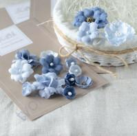 Цветы ручной работы из ткани, 14 шт, цвет синий микс