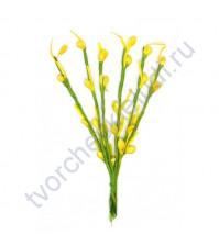 Декоративный букетик Весенний, 6 веточек с тычинками 3 мм, высота 13 см, цвет желтый