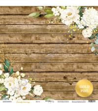 Бумага для скрапбукинга односторонняя с фольгированием 30.5х30.5 см, 190 гр/м, коллекция Tenderness, лист Цветы