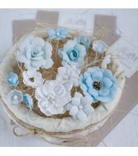 Цветы ручной работы из ткани, 14 шт, цвет бело- голубой микс