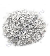 Мини пайетки круглые с матовым эффектом 3 мм, 10 гр, цвет серебро