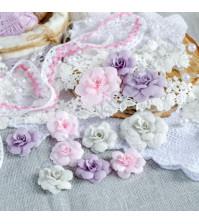 Цветы ручной работы из ткани, 9 шт, цвет розово-сиреневый микс