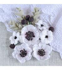 Цветы ручной работы из ткани Анемоны, 6 шт, цвет белый