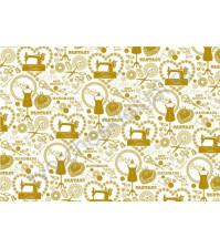 Пленка с золотым рисунком для декора Handmade, коллекция Рукодельница, толщина 0.25 мм, формат А4