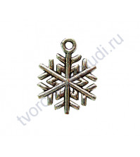 Подвеска металлическая Снежинка-1, размер 17х19 мм, цвет серебро