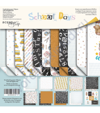 Набор двусторонней бумаги School Days, 20х20 см, 190 гр/м, 11 листов