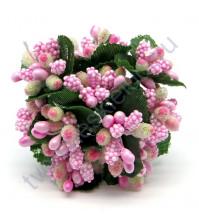 Декоративный букетик, цвет розовый, 10 штук, 10.5 см