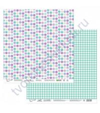 Бумага для скрапбукинга двусторонняя Мята-Лаванда, 190 гр/м2, 30.5х30.5 см, лист 1