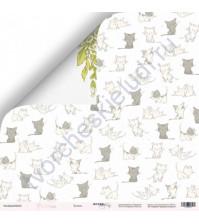 Бумага для скрапбукинга односторонняя 30.5х30.5 см, 190 гр/м, коллекция Purr Purr, лист Котята