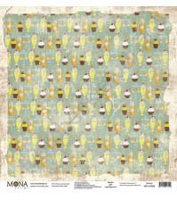 Бумага для скрапбукинга односторонняя Ретро кафе, 30.5х30.5 см, 190 гр/м, лист Полки с вкусностями
