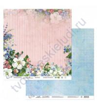 Бумага для скрапбукинга двусторонняя Яблоневый цвет, 190 гр/м2, 30.5х30.5 см, лист 2