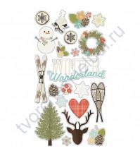 Набор стикеров из чипборда Winter Wonderland, 21 элемент