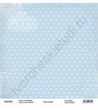 Бумага для скрапбукинга односторонняя, коллекция Базовая голубая, 30х30 см, 250 гр/м2, лист Бантики