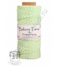 Шнур (шпагат) хлопковый Bakers Twine, диаметр 1 мм, цвет лайм-белый, 1 метр