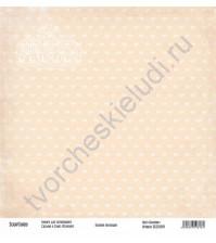 Бумага для скрапбукинга односторонняя, коллекция Базовая бежевая, 30х30 см, 250 гр/м2, лист Бантики
