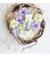 Цветы ручной работы из ткани, 15 шт, цвет салатово-сиреневый микс