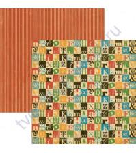 Бумага для скрапбукинга двусторонняя коллекция Typography, 30.5х30.5 см, 170 гр/м, лист Create