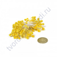 Тычинки двусторонние сахарные, пучок 80 шт, цвет яр. желтый