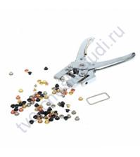 Установщик люверсов/блочек для отверстий 4 мм, в комплекте 100 люверсов