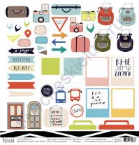Бумага для скрапбукинга односторонняя коллекция На чемоданах, 30.5х30.5 см, 190 гр/м, лист Я путешествую!