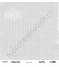 Бумага для скрапбукинга односторонняя, коллекция Базовая серая, 30х30 см, 250 гр/м2, лист Звездочки