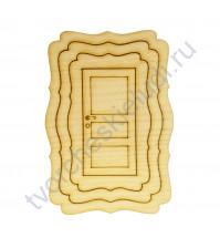 Набор 3 фигурных рамки и дверка, размер набора 80х110 мм, цвет ясень
