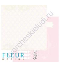 Лист бумаги для скрапбукинга Розовое кружево , коллекция Свадебная,30 на 30, плотность 190 гр