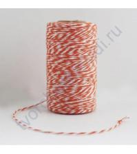 Шнур хлопковый, диаметр 1 мм, цвет оранжевый/белый, 1 метр