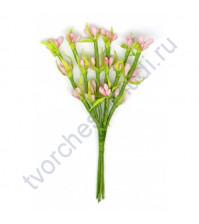 Декоративный букетик Весенний, 6 веточек с тычинками, высота 11 см, цвет желтый