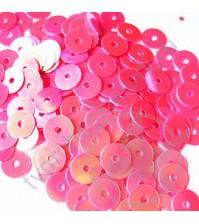 Пайетки плоские круглые с эффектом перламутр 6 мм, 10 гр, цвет розовый