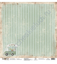 Бумага для скрапбукинга односторонняя Ретро кафе, 30.5х30.5 см, 190 гр/м, лист Фругон