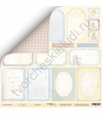Бумага для скрапбукинга двусторонняя 30.5х30.5 см, 190 гр/м, коллекция Little Bear, лист Карточки-1