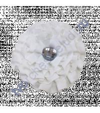 Цветок из ткани с хрустальной сердцевинкой, диаметр 8 см, цвет белый