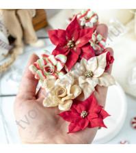 Цветы ручной работы из ткани и замши Рождество, 8 шт