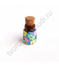 Стеклянная бутылочка с пробкой, 19х13 мм, цвет яркие цветы на синем